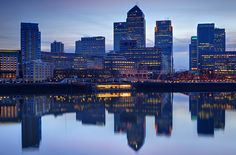 View of Canary Wharf, Docklands, London from Rotherhithe on the South Bank