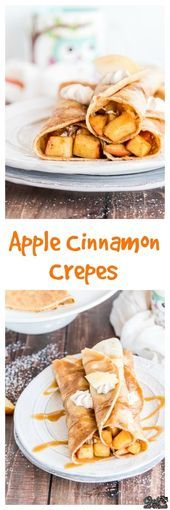Brown butter crepes filled with Apple Cinnamon and Cinnamon Whipped Cream. Serve… Brown butter crepes filled with Apple Cinnamon and Cinnamon Whipped Cream. Served with caramel sauce on top, these apple cinnamon crepes are like fall in every bite! Apple Recipes, Sweet Recipes, Fall Recipes, Crêpe Recipe, Brunch Recipes, Dessert Recipes, Dessert Oreo, Crepes Filling, Breakfast Desayunos
