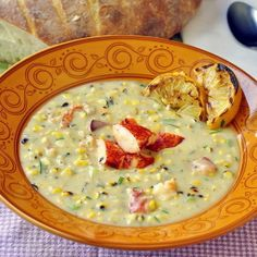 #RECIPE - Lobster and Grilled Corn Chowder with Grilled Lemon