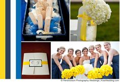 "A yellow and blueish grey beach wedding color scheme.  From ""Ideas For Yellow Wedding Color Schemes""."