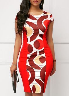 Cap Sleeve Round Neck Printed Bodycon Dress Women Clothes For Cheap, Collections, Styles Perfectly Fit You, Never Miss It! Latest African Fashion Dresses, African Dresses For Women, African Print Dresses, African Attire, African Print Fashion, Women's Fashion Dresses, Africa Fashion, Trendy Dresses, Sexy Dresses