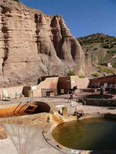 Ojo Caliente, New Mexico Mineral Spring and Spa. Always has a special place in my heart because it is where my husband proposed to me! New Mexico Santa Fe, New Mexico Usa, Great Places, Places To See, Beautiful Places, Abiquiu New Mexico, Le Colorado, Travel New Mexico, Mexico Style