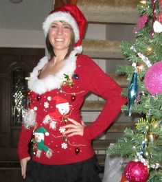 Extra creative ugly christmas sweater awesome put your arms up to diy tacky christmas sweater take any old sweater collect random tacky knick knacks solutioingenieria Gallery