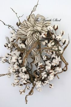 Unique Cotton Wreath, Cotton Boll Wreath, Raw Cotton Bolls, Anniversary Gift, Southern Decor, Everyday Wreaths, Unique Bow, Country Decor