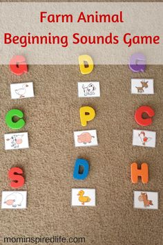 Farm Animals Beginning Sounds Game is a fun gross motor alphabet learning activity for preschoolers. This would be a great addition to your farm theme preschool lesson plans. #PlayfulPreschool #alphabet