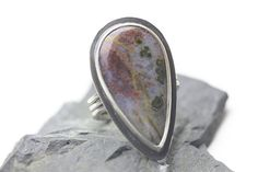 Plume/Moss Agate & Sterling Silver Ring, Designer Gemstone, Red, Blue, Brown, Statement Ring, Unisex, Size 10