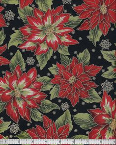 Holiday Flourish 5, Robert Kaufman Fabrics, Poinsettia. $4.80, via Etsy.