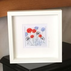 Glass Floral Wall Hanging, Glass Art Flowers ,Red Blue Flowers and seedheads, Wall Hanging, Home decor, Wall Art, Gift for her   16/95 by WarmGlassFusion on Etsy