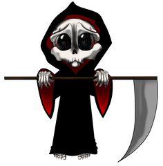 Reaper Chibi by ZeroJigoku on DeviantArt Grim Reaper Art, Grim Reaper Tattoo, Monster Drawing, Monster Art, Demon Drawings, Cute Drawings, Easy Tattoos To Draw, Reaper Drawing, Satanic Tattoos
