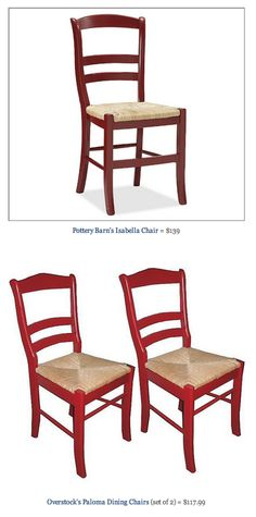 COPY CAT CHIC FIND: Pottery Barn's Isabella Chair VS Overstock's Paloma Dining Chairs