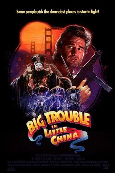 Illustration for a Tee! Showcasing the Cult Classic film 'Big Trouble in Little China'. Cinema Tv, Cinema Posters, Classic Movie Posters, Movie Poster Art, Iconic Movies, Great Movies, 80s Movies, Indie Movies, Action Movies