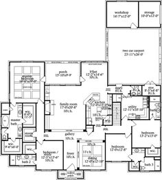 "I like the utility room, workshops, storage spaces, and ""storm room"" ideas here, but otherwise not wow'ed by this plan. Best House Plans, Dream House Plans, House Floor Plans, My Dream Home, Le Palace, Future House, My House, Flex Room, House Blueprints"