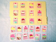 Visual Discrimination File Folder Game:  Wrapping paper - try to find some that has pictures of things you can easily cut out.   Cardstock, Scissors, Glue   Cut out the pictures, glue or tape them on the file folder. Glue or tape the corresponding ones to cardstock.   (Have the child place the matching cupcake on top of the ones in the file-folder.)