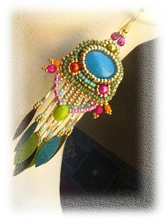 Summer Beaded Cabochon Pendant Necklace by BéKata.