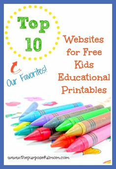 The Purposeful Mom: Top 10 Websites for Free Kids Educational Printables {and the Awesome HP Printer I Use to Print Them!}