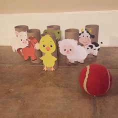 Farm animal bowling! So cute!   Use little blue truck characters instead