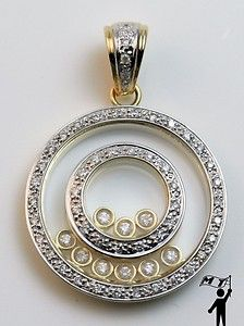Floating Diamond Pendant Necklace | ... Gold Floating Happy Diamond Round Circle Pendant Necklace $2450 | eBay
