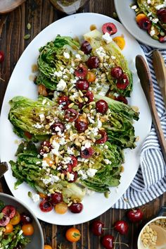 Grilled Romaine Salad with Cherries, Feta and Toasted Pine Nuts l SimplyScratch.com