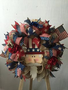 Rustic looking Uncle Sam Wreath- great for any occasion Hobbies And Crafts, Crafts To Make, Arts And Crafts, Summer Crafts, Holiday Crafts, Fourth Of July, 4th Of July Wreath, Finding A Hobby, Homemade Crafts