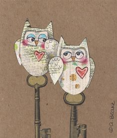Mixed+Media+Original+Painting+Assemblage+Owl+by+Paintingbliss,+$28.00
