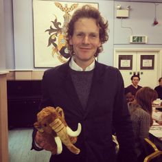 Shaun Evans at Endeavour Series 3 reading, with the Mammoth Productions mascot, Cavendish.