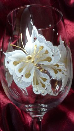 Hand painted wine glass with butterflies