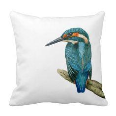 Kingfisher Painting Art Pillow