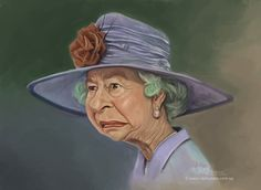 Queen Elizabeth caricature printed at 'The Royal Forums'