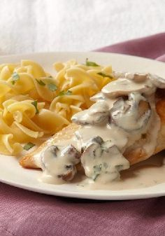 Chicken-Mushroom Supreme – Sautéed mushrooms bathed in a creamy sauce turn everyday chicken into a reason to celebrate. Use a large skillet to help the chicken brown even quicker.