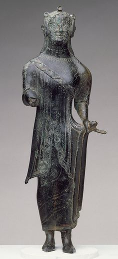 """Statuette of a kore, last quarter of the century b. Etruscan Bronze Metropolitan Museum: """" This young Etruscan woman is shown elaborately dressed in a fine, crinkled undergarment, possibly a. Ancient Aliens, Ancient Rome, Ancient History, Art History, Ancient Goddesses, Gods And Goddesses, Bronze, Roman Art, Sculpture"""