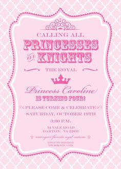 Purple or Pink Princess & Knights Royal Birthday Party Invitation - Print Your Own