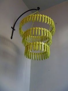 Laundry Room Chandelier made from clothes pins & wire tape