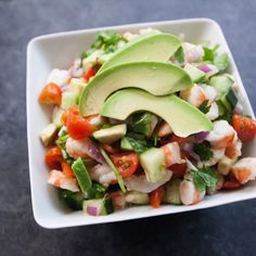 Here is my twist on a classic Shrimp Ceviche dish. I actually pre-cook my shrimp instead of curing it in lime juice beca Cooked Shrimp Recipes, Seafood Recipes, Mexican Food Recipes, Cooking Recipes, Healthy Recipes, Cooking Tips, Seafood Appetizers, Healthy Appetizers, Tostada Recipes