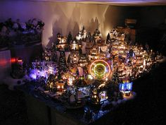a lemax christmas village at night