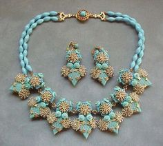 Stanley Hagler Jewelry Findings | Stanley Hagler Vintage Turquoise Collar Necklace & Earring DEMI PARURE ...