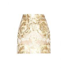 Dolce & Gabbana LACE APPLIQUÉD METALLIC-JACQUARD SKIRT