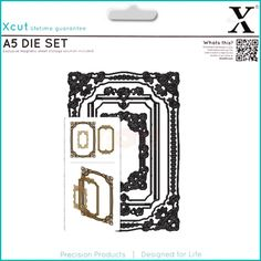 DOCRAFTS XCUT DIES A5 TRIM BORDERS AND CORNERS 6 PIECE DIE SET