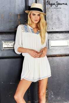 Pepe Jeans London Aladis White Folk Dress