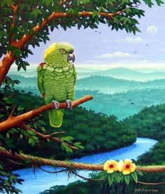 Bird Art,Amazon Parrot painting,Wildlife poster,Animal print,African grey parrot art,Amazon parrot art