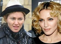 Madonna Before and After Makeup Look |Makeup Tutorials http://makeuptutorials.com/23-celebrities-before-and-after-makeup-transformations