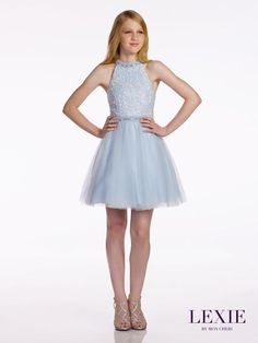 Lexie by Mon Cheri | Order online or by phone | Party Dress Express | 657 Quarry Street | Fall River, MA | (508) 677-1575 | partydressexpress... #blue #dress #preteen #teen #sparkle