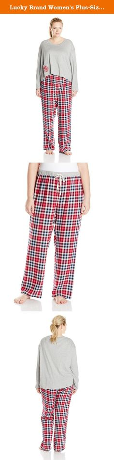 Lucky Brand Women's Plus-Size Brushed Flannel Pajama Gift Set Plus, Heather Grey/Buffalo Check, 1X. Cozy brushed flannel bottoms paired with an easy, boxy cut tee make the perfect set.