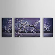 Floral/Botanical Oil Painting Hand-Painted Canvas Wall Art Other Artists Three Panels Ready to Hang – AUD $ 125.09