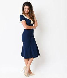 If you're a fan of pinup clothing, you've come to the right place. Unique Vintage carries a full line of beautiful and dresses from retro-inspired brands. The Stop Staring! Navy & Ivory Railene Dress is the perfect combination of coy and class 1940s Fashion Dresses, 1930s Fashion, 1940s Dresses, Vintage Style Dresses, Unique Dresses, Retro Fashion, Vintage Outfits, Vintage Fashion, Club Fashion