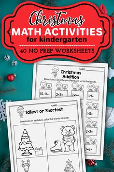 These kindergarten math worksheets for kindergarten were a great addition in my classroom. The winter set includes kindergarten math worksheets, activities, addition and subtraction activities, counting printables, color by number, ten frames and more. The Christmas kindergarten printables are so fun and include so many cute graphics, just like a game. The Christmasprintables activities can be used during homeschool, or in the classroom for kindergarten and first grade students. Christmas Worksheets Kindergarten, Christmas Printable Activities, Christmas Activities For Kids, Kindergarten Activities, Alphabet Activities, Winter Activities, Learning Activities, Christmas Crafts, Merry Christmas