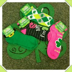 IRISH SOCKS  --- ST Pattys Day March 17th 4 pairs of ankle socks Pink Lucky charm, green and white 4 leaf clovers, stripe kiss me im irish, green irish gold buckle. Accessories Hosiery & Socks