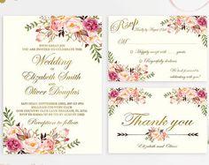 Floral Wedding Invitation Printable Wedding by DigartDesigns