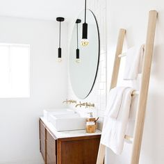 """""""my bright and shiny bathroom got a refresh with @targetstyle and this DIY towel rack ladder on the blog today! (link in profile) #targetstyle #targetrefresh #samuelhomerenovation #sssinteriors"""" Photo taken by @sarahshermansamuel on Instagram, pinned via the InstaPin iOS App! http://www.instapinapp.com (01/13/2015)"""