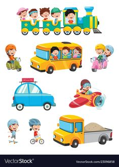 Vector illustration of kids transportation Diy Crafts For Adults, Diy Crafts To Sell, Sell Diy, Drawing Classes For Kids, Transportation For Kids, School Labels, Kids Cuts, Pineapple Images, Work Activities