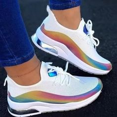 Lace-Up Round Toe Low-Cut Upper Color Block Sneakers Wedge Heel Sneakers, Sneakers Mode, Chunky Sneakers, Sneaker Heels, New Sneakers, Platform Sneakers, Casual Sneakers, Sneakers Fashion, Casual Shoes